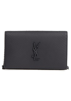 Saint Laurent Monogram Genuine Python Wallet on a Chain