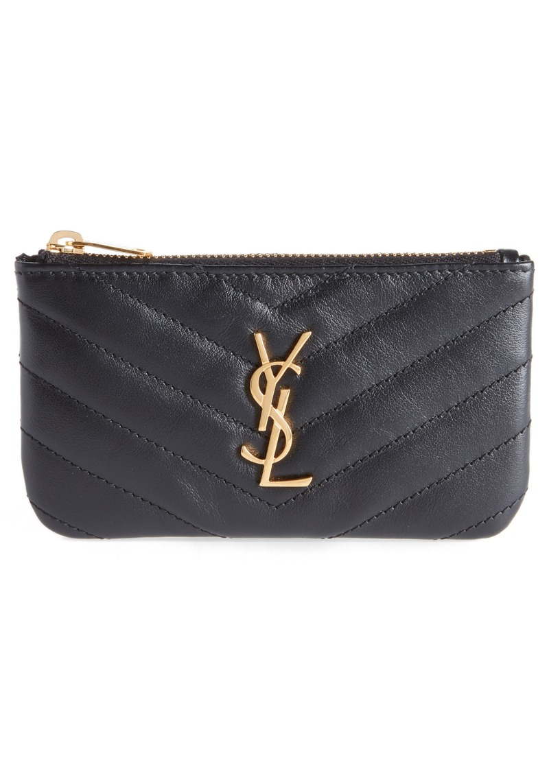 Saint Laurent Monogram Leather Key Pouch