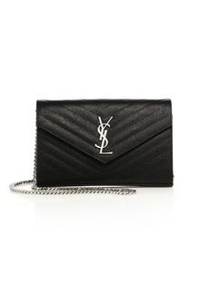 Yves Saint Laurent Monogram Matelasse Leather Chain Wallet