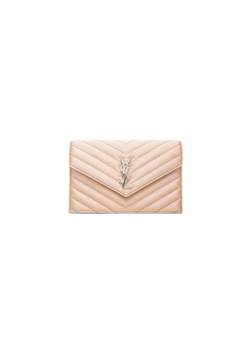 Saint Laurent Saint Laurent Monogram Quilted Satin Envelope Chain ... b9fc0c026227b