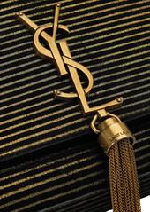 df019a2842 ... Saint Laurent Monogramme Kate metallic-striped suede shoulder bag ...