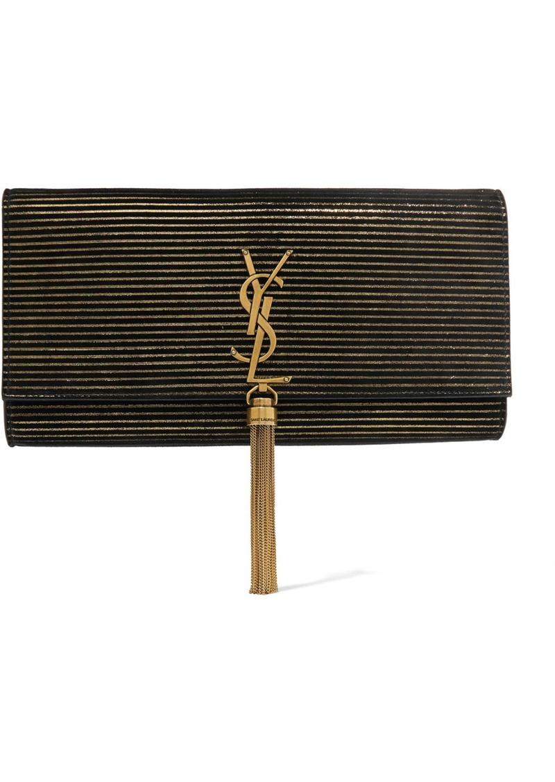 275c65879b Saint Laurent Saint Laurent Monogramme Kate metallic-striped suede ...