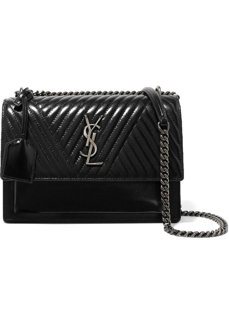 Saint Laurent Monogramme Sunset medium glossed-leather shoulder bag ... 0cb64b9837bcd