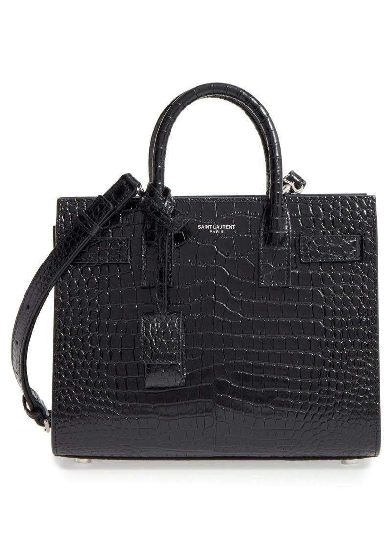 63ad442624d Saint Laurent Saint Laurent Nano Sac de Jour Croc Embossed Leather ...