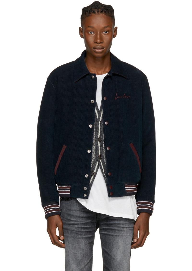 516998db339 Saint Laurent Navy Corduroy 'Loulou' Teddy Bomber Jacket. Yves Saint Laurent