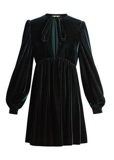 Yves Saint Laurent Saint Laurent Neck-tie velvet mini dress