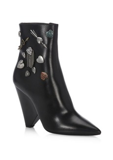 Yves Saint Laurent Saint Laurent Niki Cone Heel Embellished Leather Booties