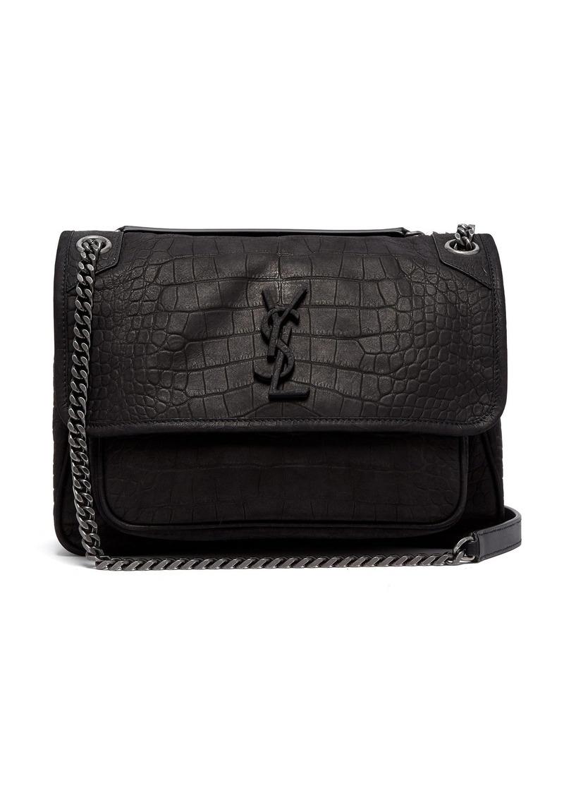 b98524c32a5a COM  Saint Laurent Niki medium crocodile-effect leather shoulder bag great  fit 5cb35 f8eb4 ...