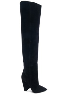 Saint Laurent Niki Velvet Thigh High Boots