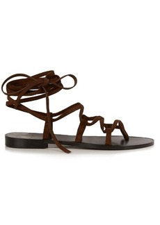 Saint Laurent Nu Pieds lace-up suede sandals