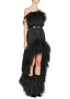 Saint Laurent Off-The-Shoulder Belted Feather Dress