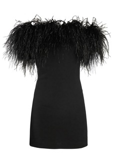 Saint Laurent Off-the-shoulder Ostrich feather-trimmed dress
