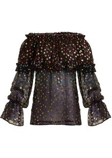 Saint Laurent Off-the-shoulder silk-blend blouse
