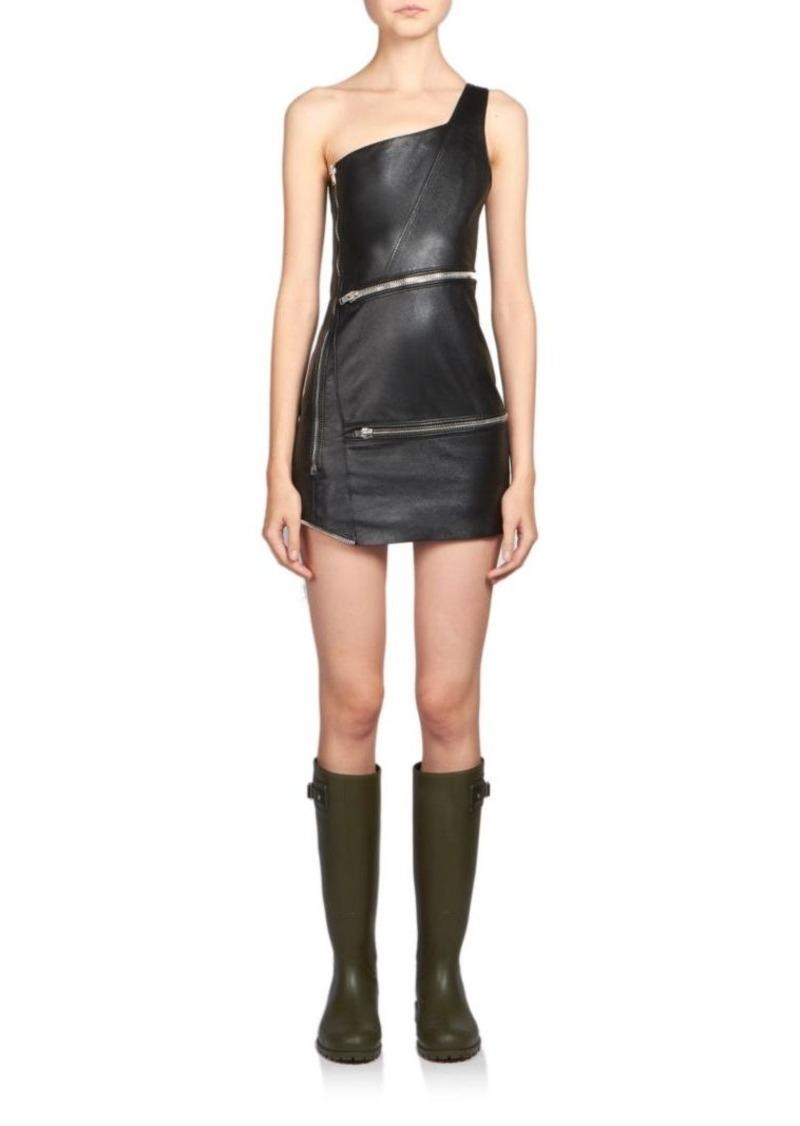 Saint Laurent One-Shoulder Leather Zip Mini Dress