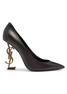 Saint Laurent Opyum logo-heel leather pumps