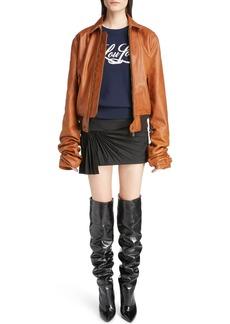 Yves Saint Laurent Saint Laurent Oversize Sleeve Leather Bomber