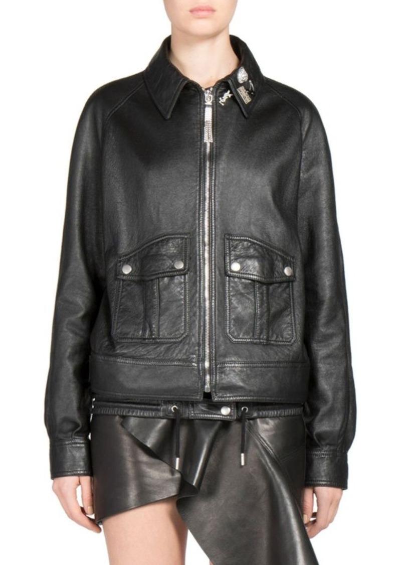 cf855e617 Oversized Leather Bomber Jacket