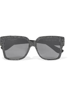 Yves Saint Laurent Oversized square-frame glittered acetate sunglasses