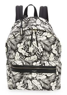 Yves Saint Laurent Saint Laurent Palm Print Canvas Backpack