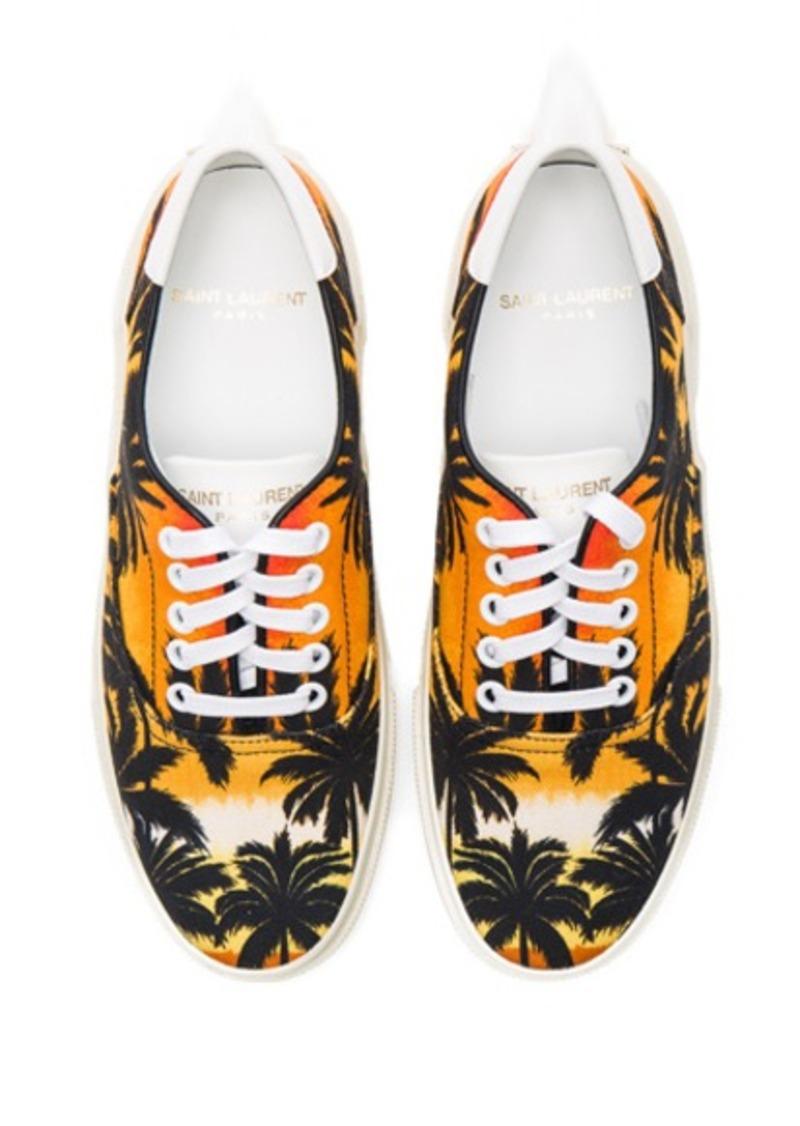 Saint Laurent Palm Print Canvas Skate Sneakers