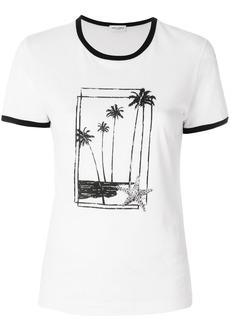 Yves Saint Laurent Saint Laurent palm print ringer T-shirt - White