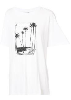 Yves Saint Laurent Saint Laurent palm tree print T-shirt - White