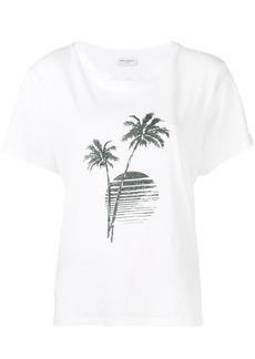 Yves Saint Laurent Saint Laurent palm tree sunset print T-shirt - White