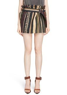 Saint Laurent Paperbag Waist Silk & Linen Blend Skirt