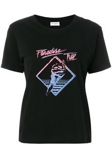 Yves Saint Laurent Saint Laurent Paradise Trip slogan T-shirt - Black