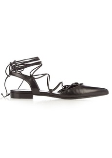 Saint Laurent Paris lace-up leather flats