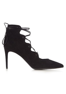 Saint Laurent Paris lace-up suede pumps