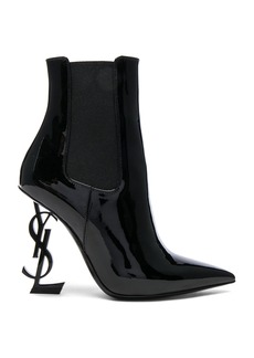 Yves Saint Laurent Saint Laurent Patent Opium Monogram Heeled Boots