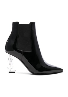 Saint Laurent Patent Opium Monogram Heeled Boots