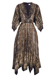 Yves Saint Laurent Saint Laurent Peacock feather-embroidered V-neck dress