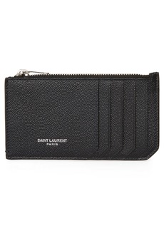 Yves Saint Laurent Saint Laurent Pebble Grain Leather Zip Wallet