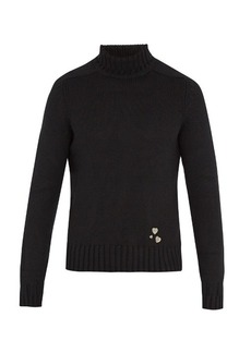 Yves Saint Laurent Saint Laurent Pin-embellished roll-neck cashmere sweater