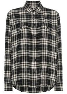 Yves Saint Laurent Saint Laurent plaid button down cotton blend shirt - Black