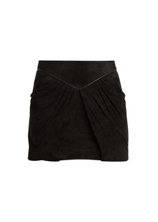 Yves Saint Laurent Saint Laurent Pleat-detail suede mini skirt