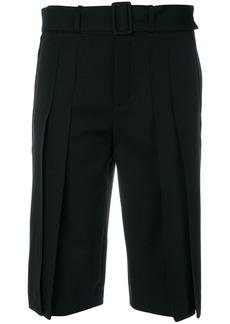 Yves Saint Laurent Saint Laurent pleated front knee length shorts - Black
