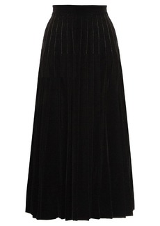 Yves Saint Laurent Saint Laurent Pleated velvet midi skirt
