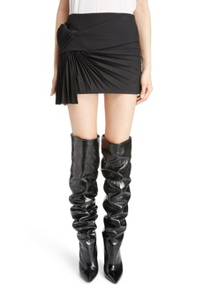 Saint Laurent Pleated Wool Gabardine Miniskirt