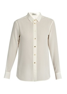 Saint Laurent Point-collar silk crepe de Chine shirt