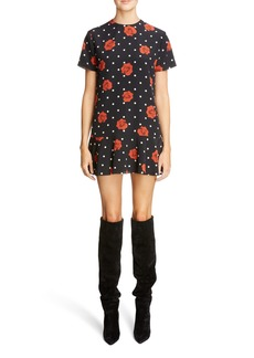 Saint Laurent Polka Dot & Rose Print Silk Dress