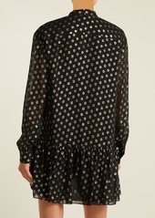 Saint Laurent Polka-dot fil coupé silk-blend dress