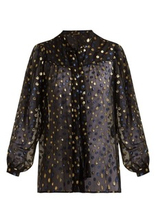 Saint Laurent Polka dot-jacquard silk-blend blouse