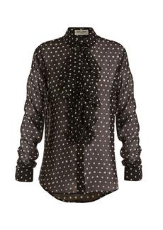 Yves Saint Laurent Saint Laurent Polka dot-print ruffle-trimmed silk blouse