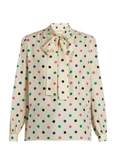 Yves Saint Laurent Saint Laurent Polka-dot print silk crepe de Chine blouse