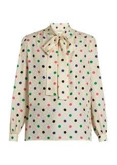 Yves Saint Laurent Saint Laurent Polka-dot print silk crepe de Chine blouse