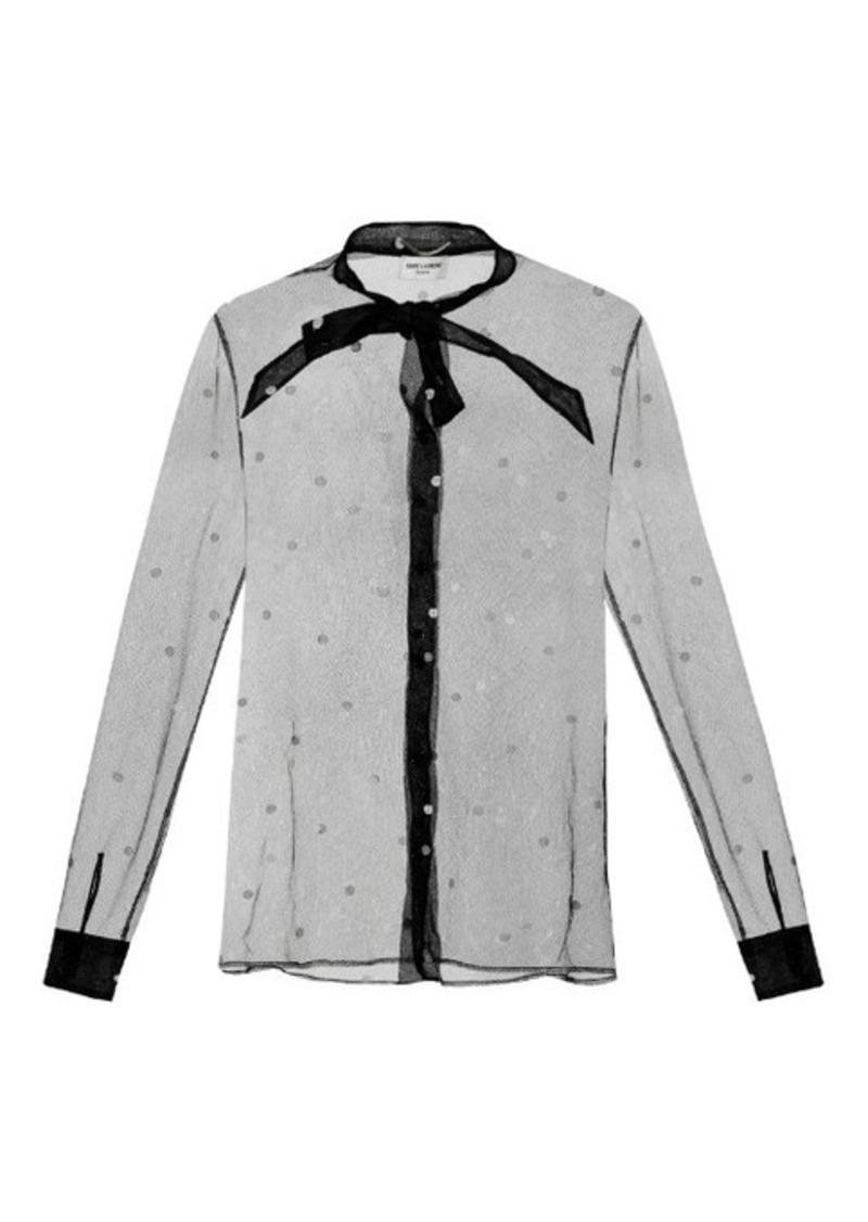 Yves Saint Laurent Saint Laurent Polka-dot tulle blouse