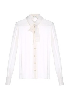 Saint Laurent Pussybow-neck crepe de Chine blouse